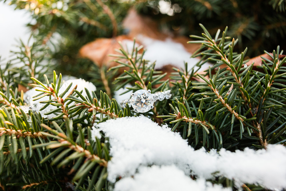 Solitaire engagement ring on a snowy evergreen | Winter engagement ring photo ideas