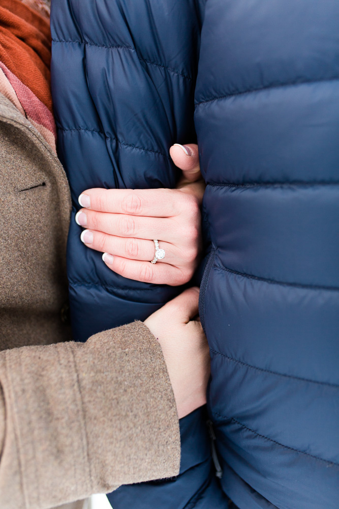 Close up engagement ring photo during a winter engagement session