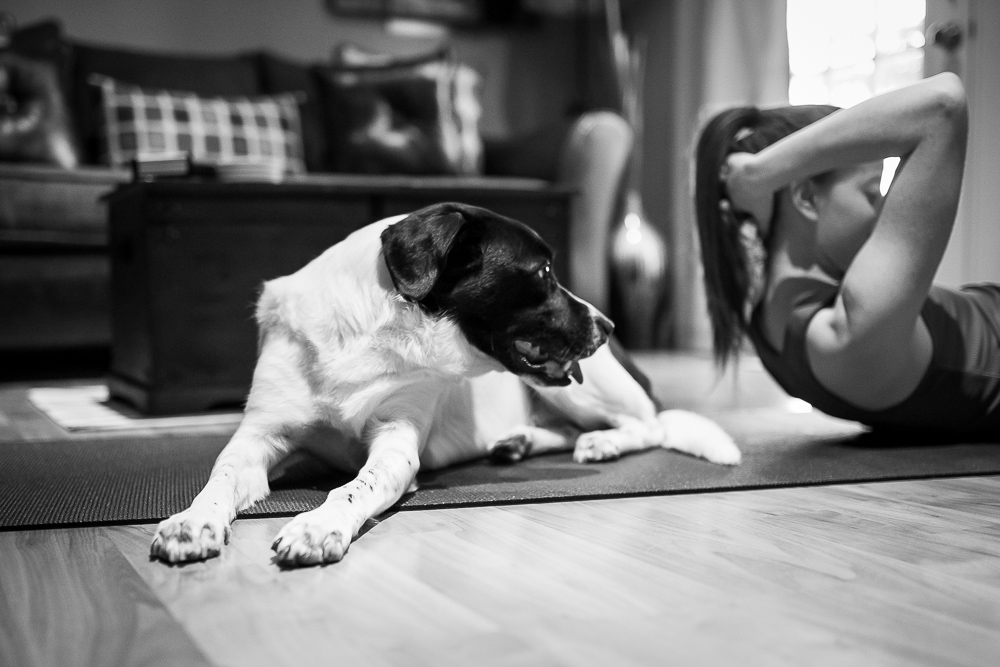 Cute pup sharing the yoga mat while watching his mom do sit-ups