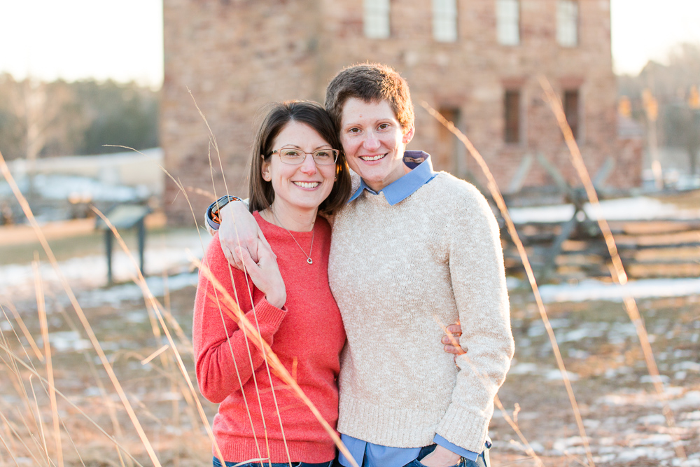 Winter engagement pictures at golden hour by the Stone House in Manassas, Virginia | Lesbian engagement photographer in Northern Virginia