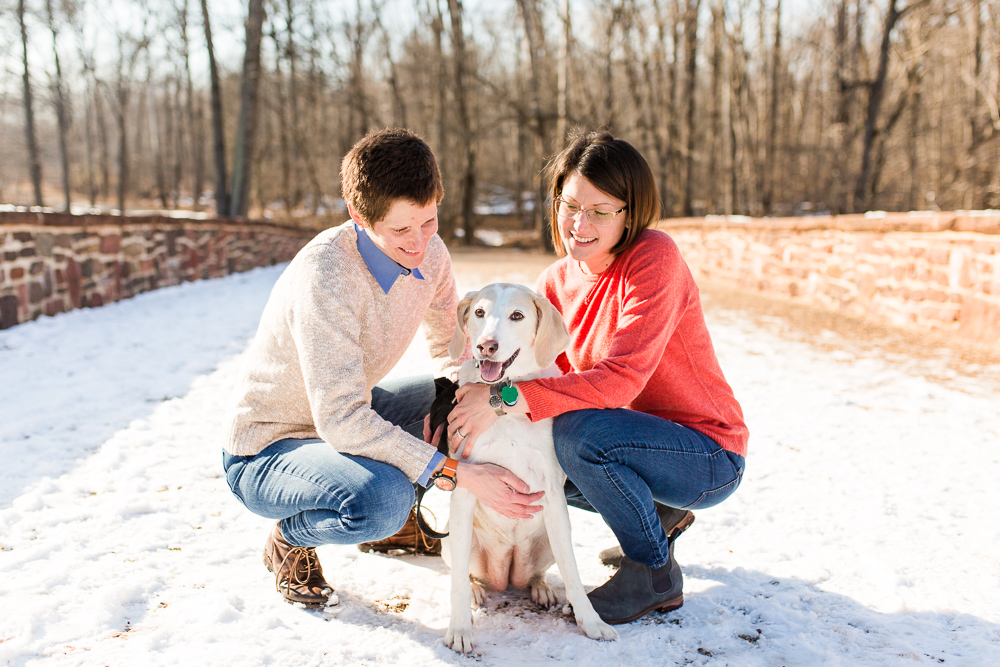 Candid winter engagement pictures with rescue dog | Washington DC LGBT engagement photographer
