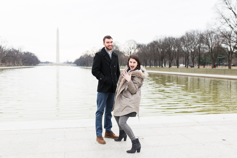 Surprise proposal at the Reflecting Pool in Washington, DC