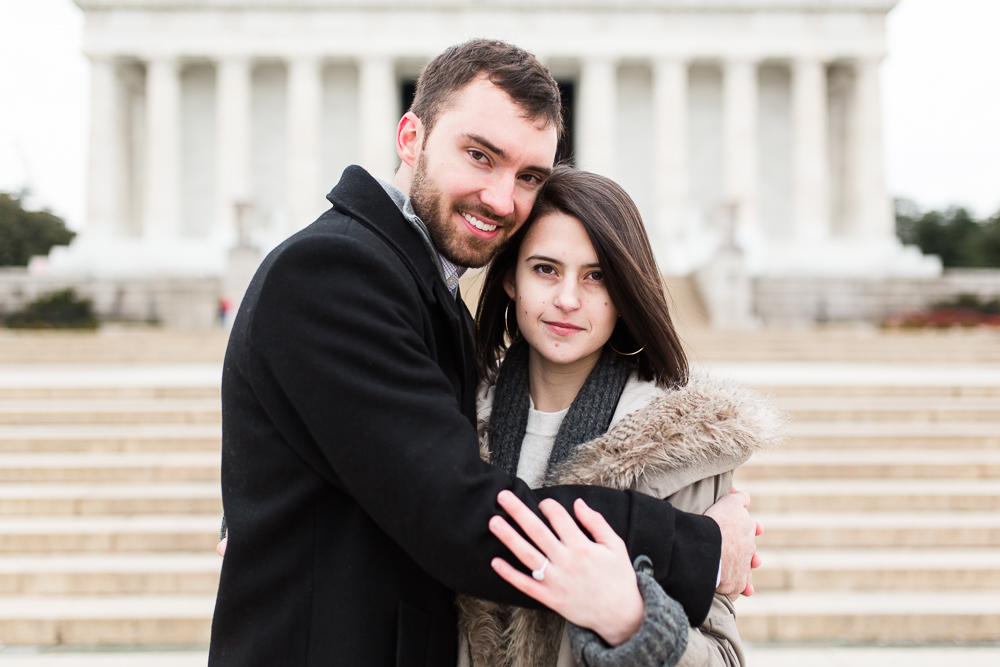 Engagement photo in front of the Lincoln Memorial