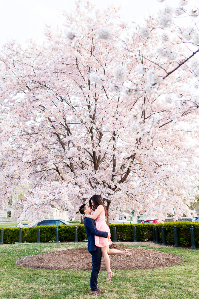 Engaged couple kisses in front of a cherry blossom tree in Washington, DC