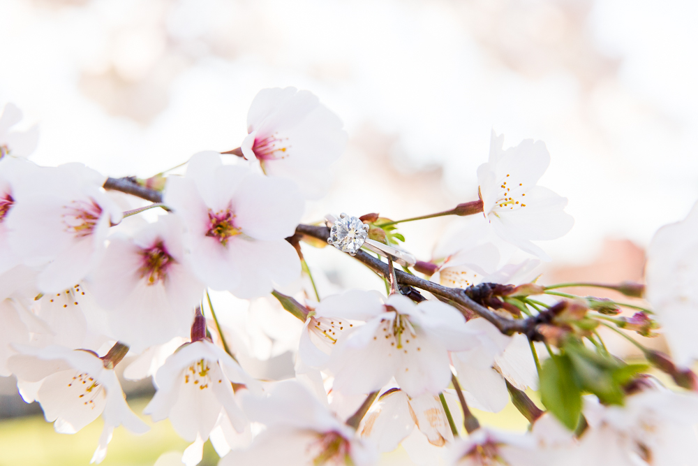 Engagement ring with cherry blossoms