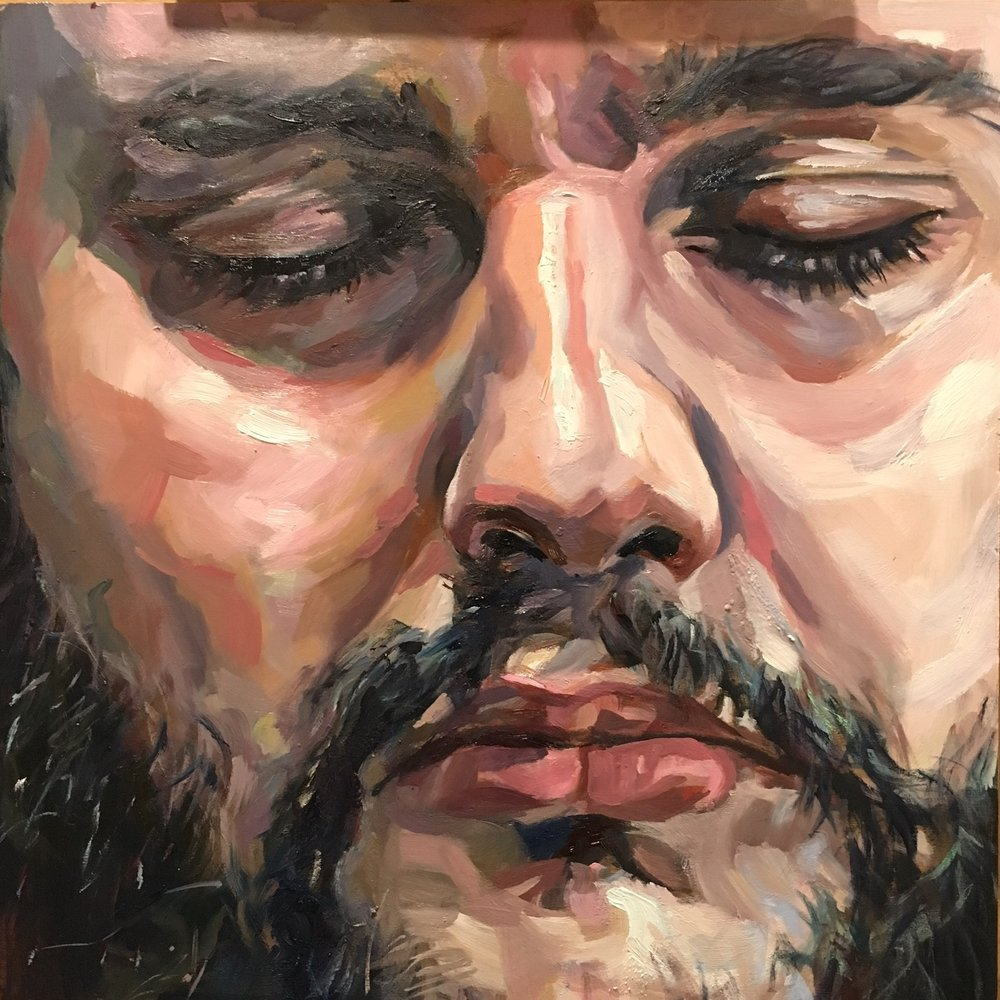 Face I  12x12  oil on wood board