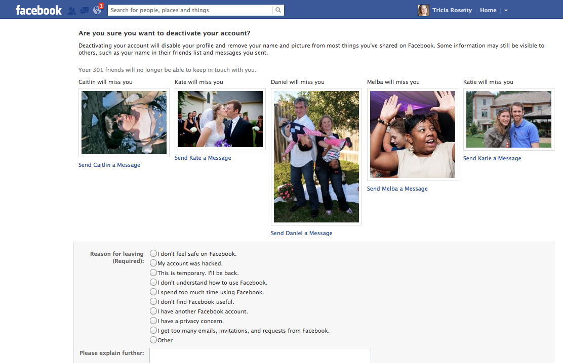 Screenshot of Facebook deactivation