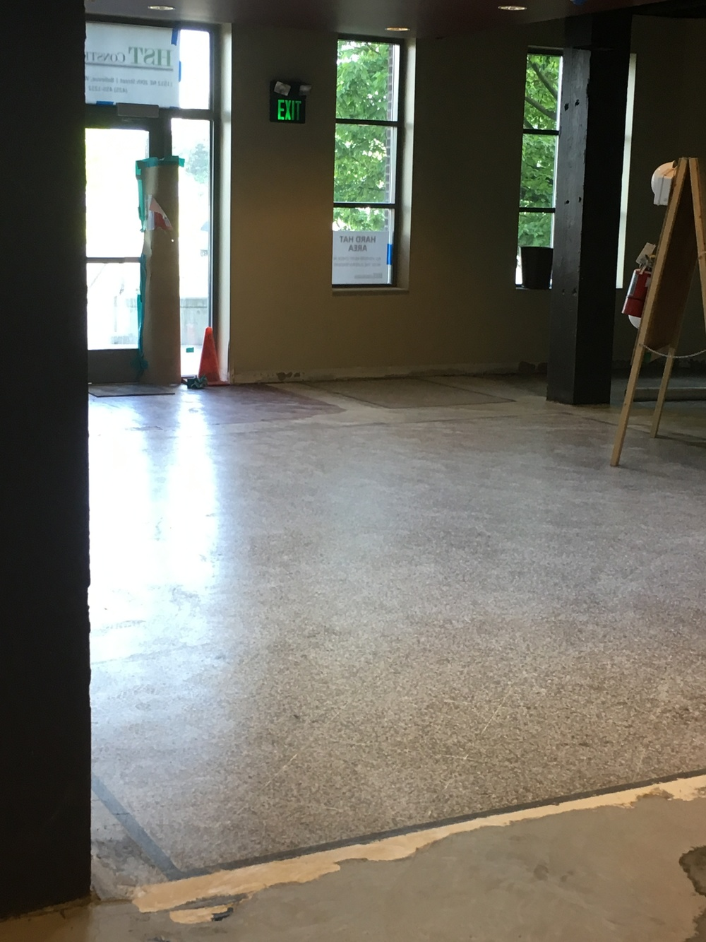 Buffed terrazzo floors.