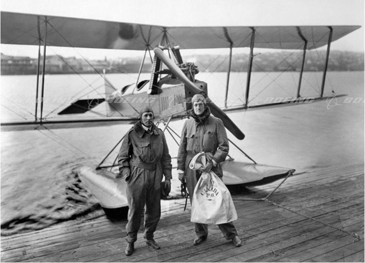 Bill Boeing on first international mail flight from Vancouver Canada to Seattle, WA - Circa 1919