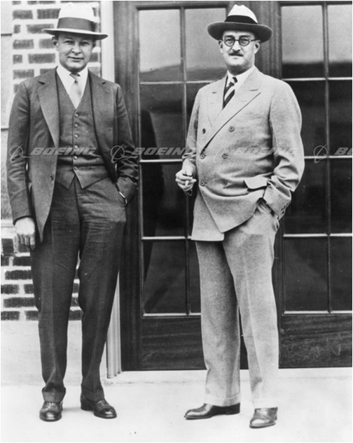 Frederick Rentschler and William Boeing (Right) in front of 200 SW Michigan - Circa 1929