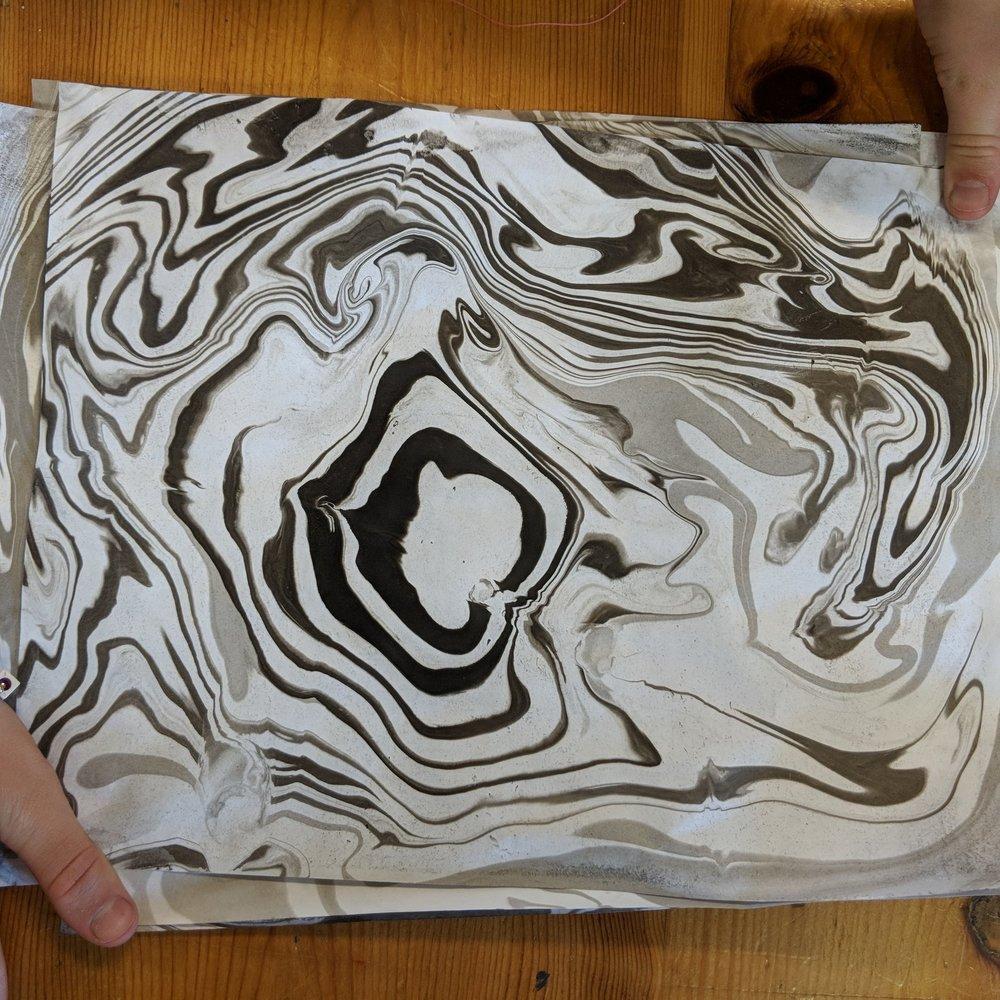 July 28 : Suminagashi Paper Marbling & Basic Book Binding