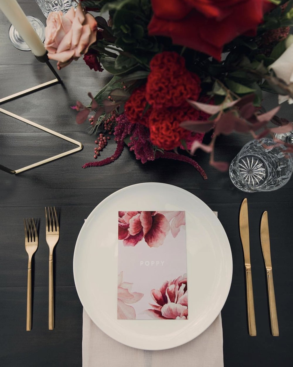 Noritake white raised rim dinner plates + Waterford crystal glassware - Photography by Tom Judson Photography