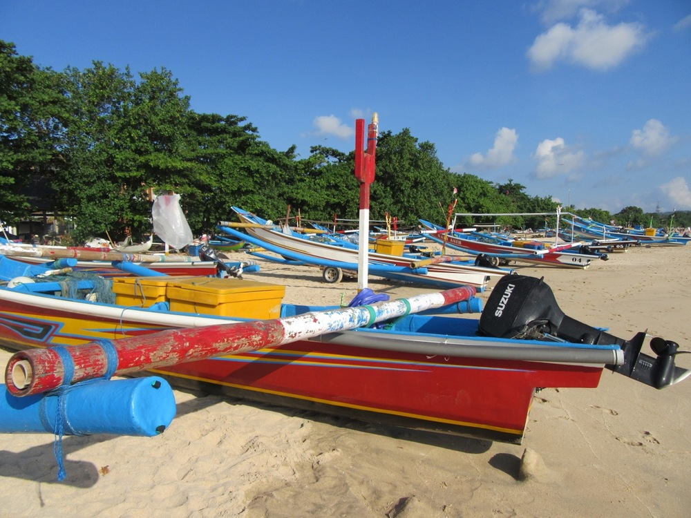 Boats on the beach near Jimbaran Bay.
