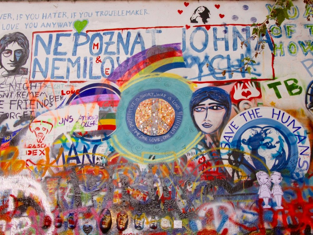 A portion of the John Lennon Wall in Prague.
