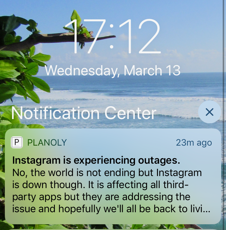 The notification I received from Planoly, my IG scheduling platform.