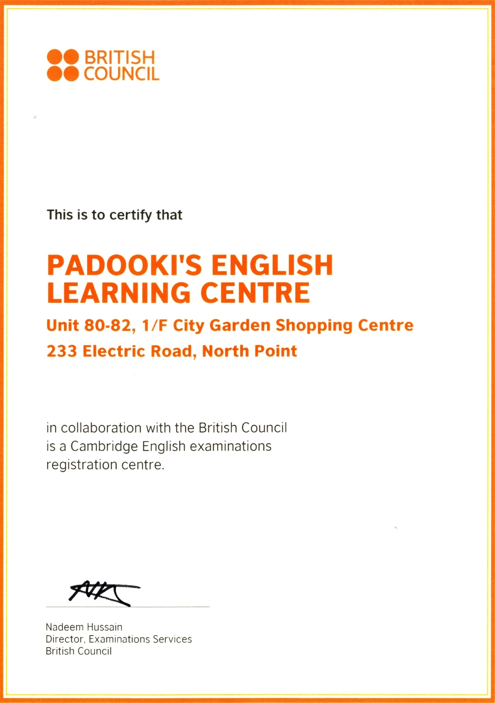 Cambridge YLY Exam Centre Cert - Padooki's2.jpg