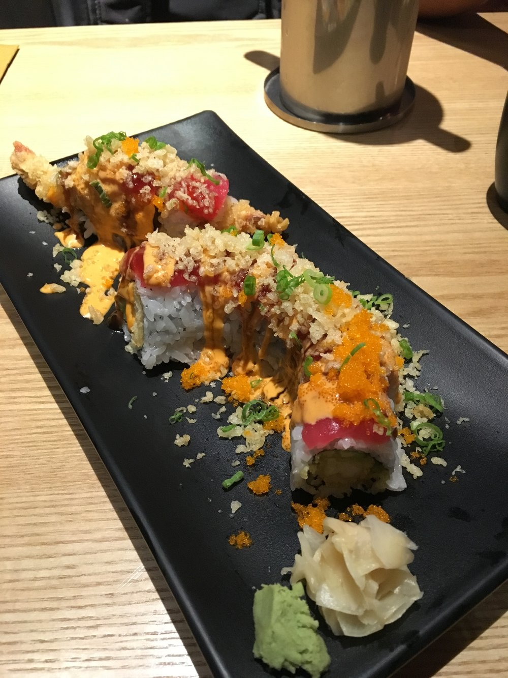 Playgirl Roll: tuna & shrimp tempura with avocado & crunch flakes