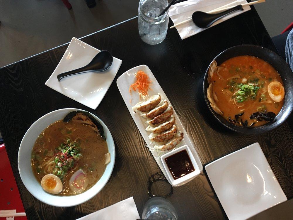 Shoyu Ramen, Gyoza, & Spicy Miso Ramen