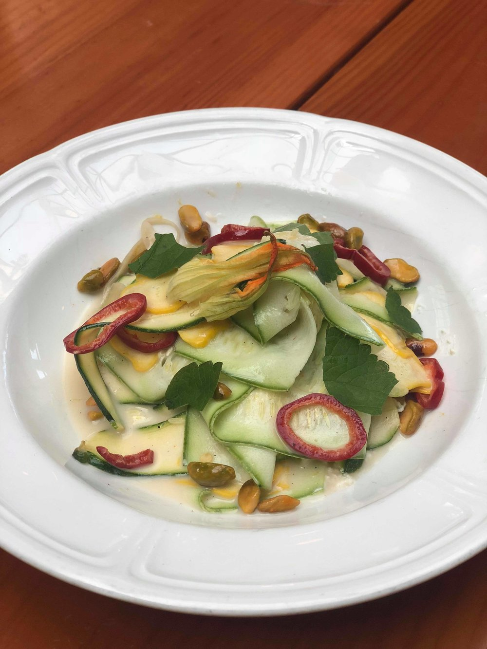 Summer Squashes: fromage blanc, fennel, hyssop, chili, pistachio, lemon vinaigrette