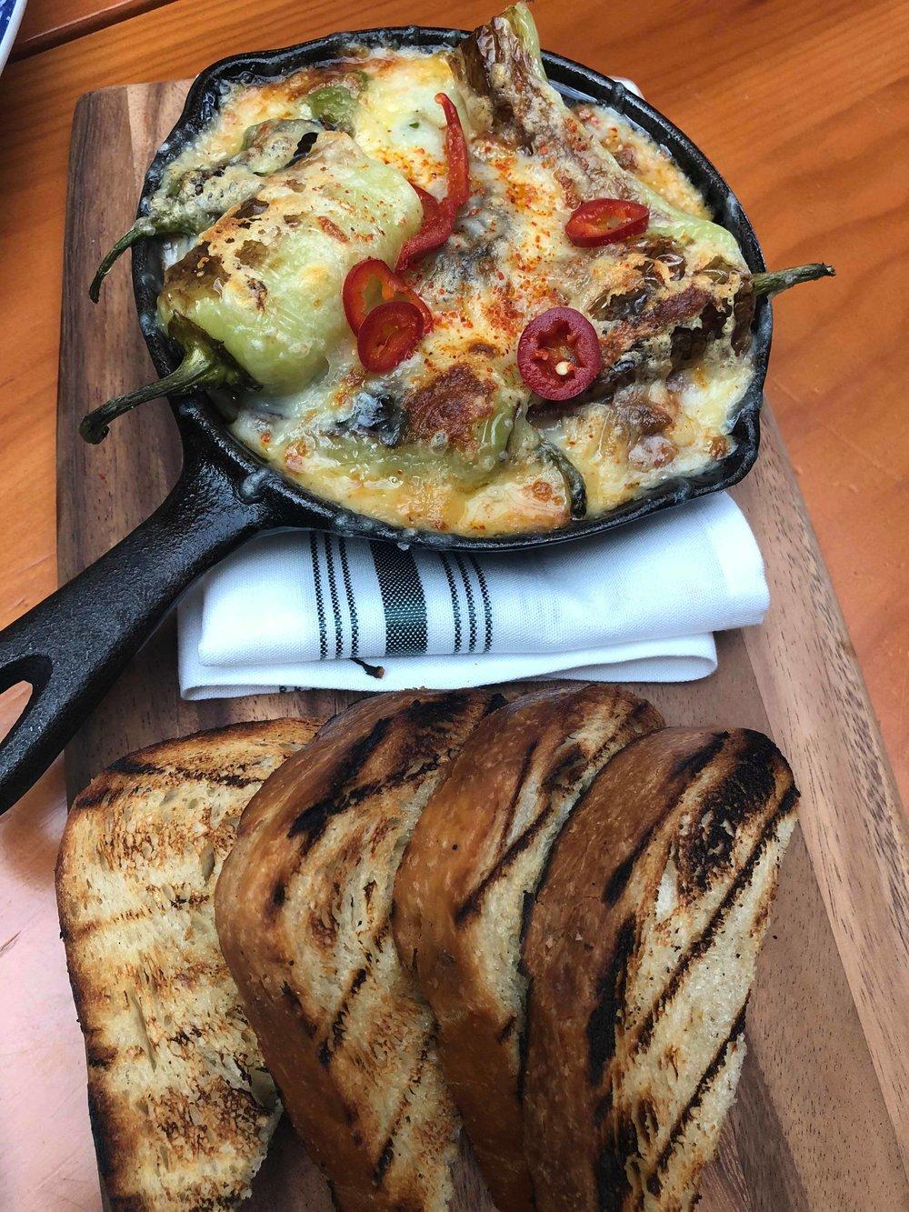 Blistered Peppers: salsa roja, chorizo, caciocavera cheese
