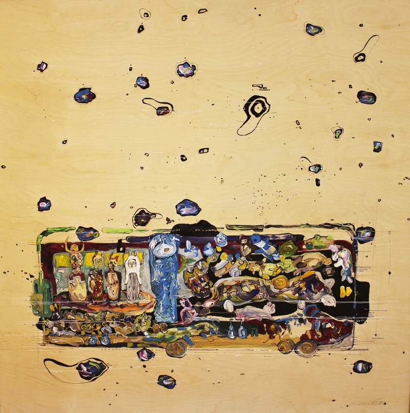Hakim Abou-Kila   Mixed media on wood  150 x 150 cm  2010