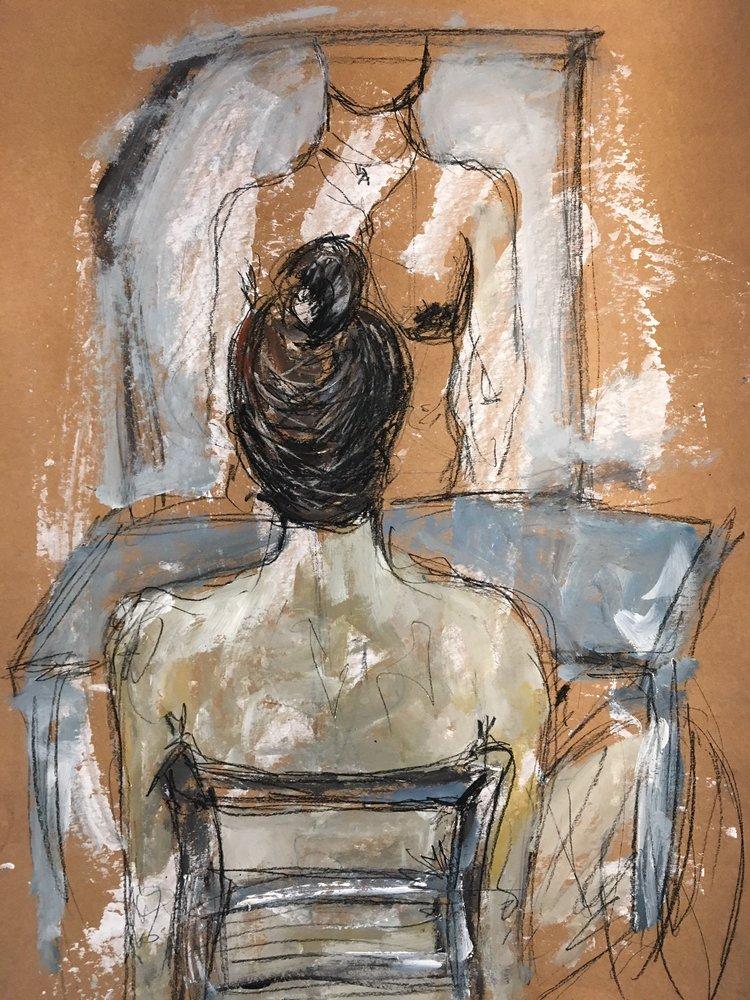 Amina ElDemirdash   Acrylics on cardboard paper  69 x 48 cm  2017