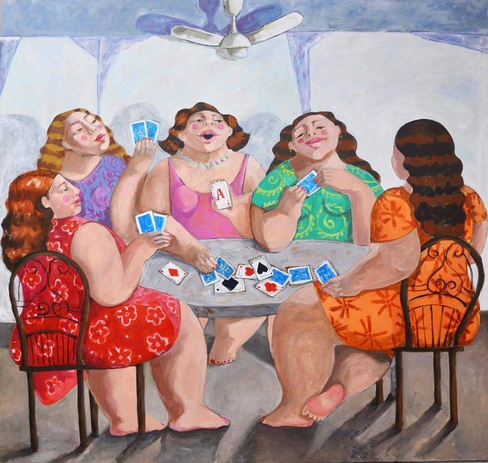 """Playing cards with my girls""   Oil on canvas  150 x 140"