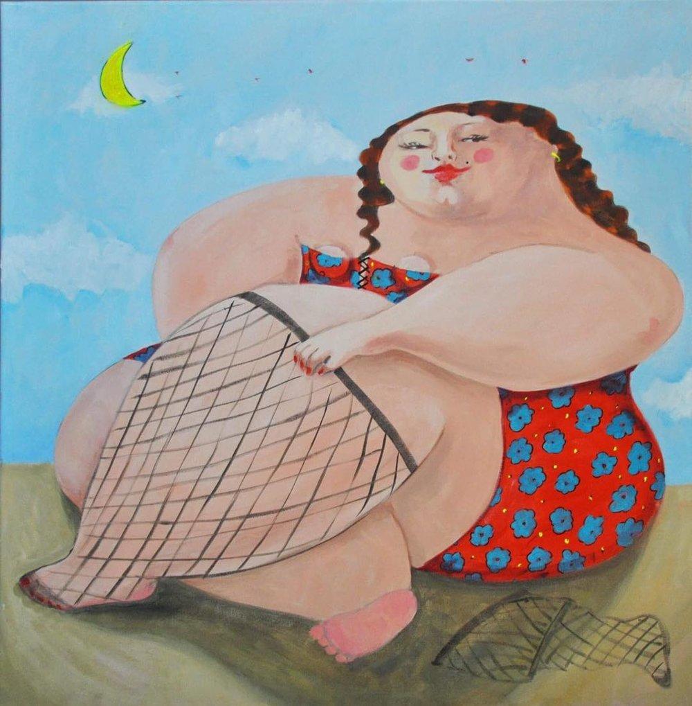 """Sexy Lady""   Oil on canvas  80 cm x 80 cm"