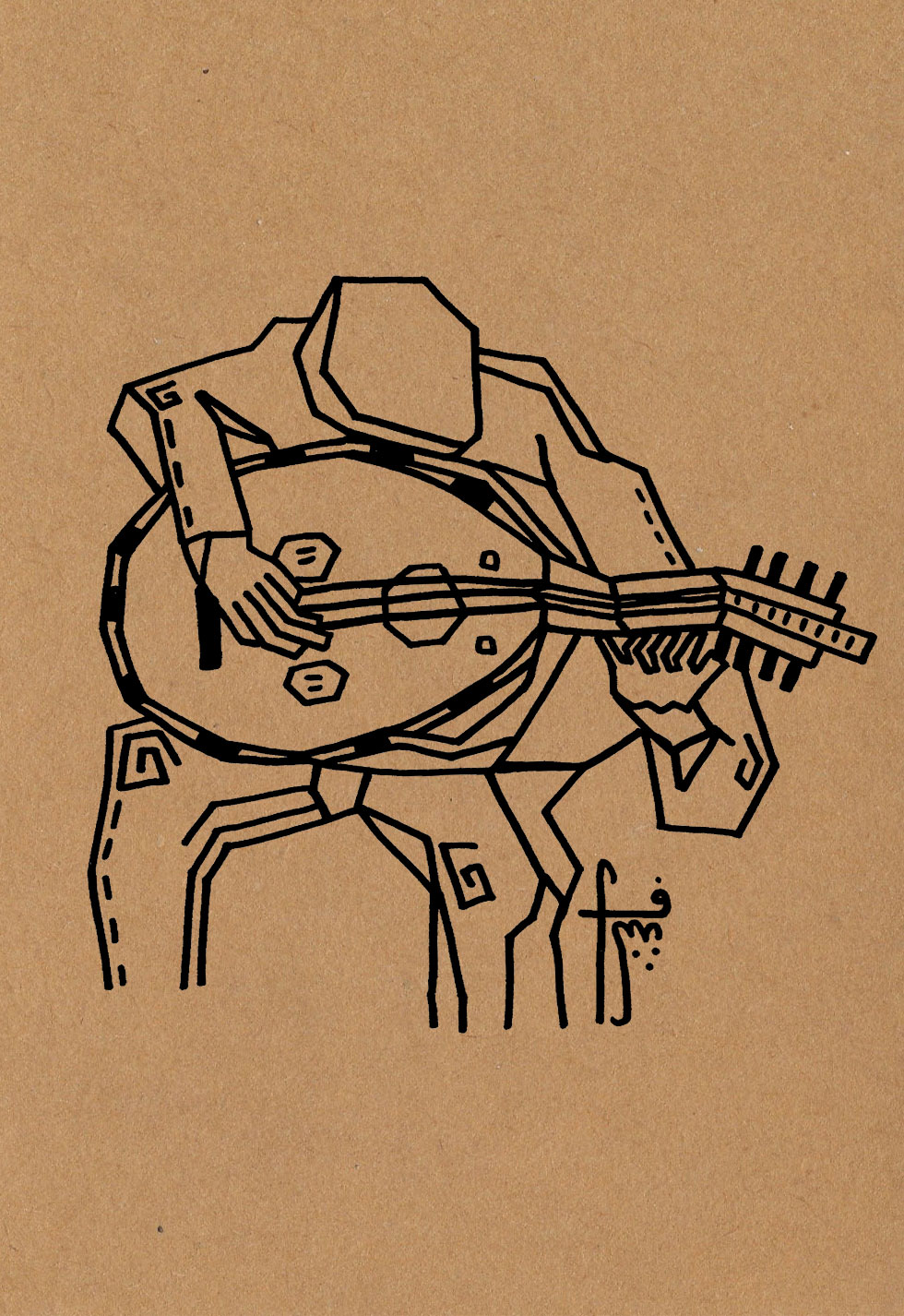 The Oud Player  // strumming  Pen on craft paper (350g)  A5