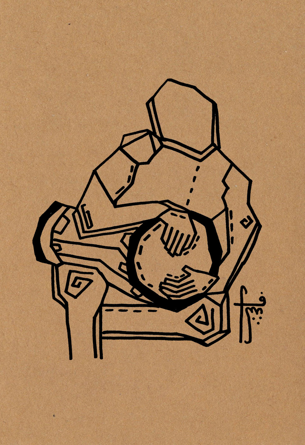 The Tabla Player  // doum & tek  Pen on craft paper (350g)  A5