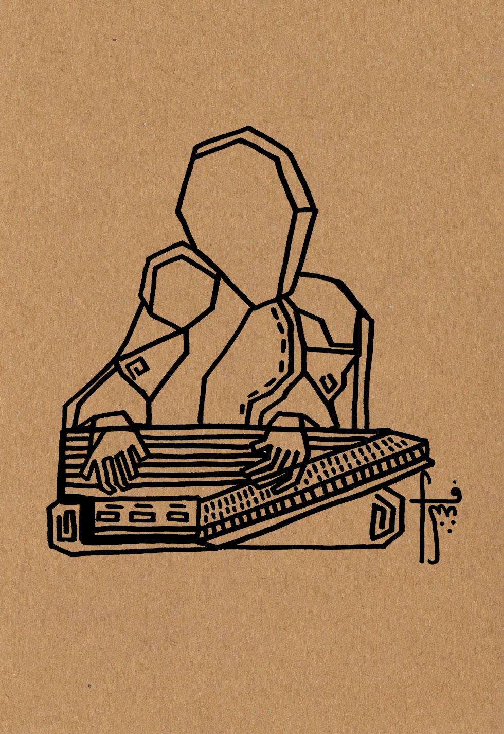 The Qanun Player  // sounds of Jerusalem  Pen on craft paper (350g)  A5