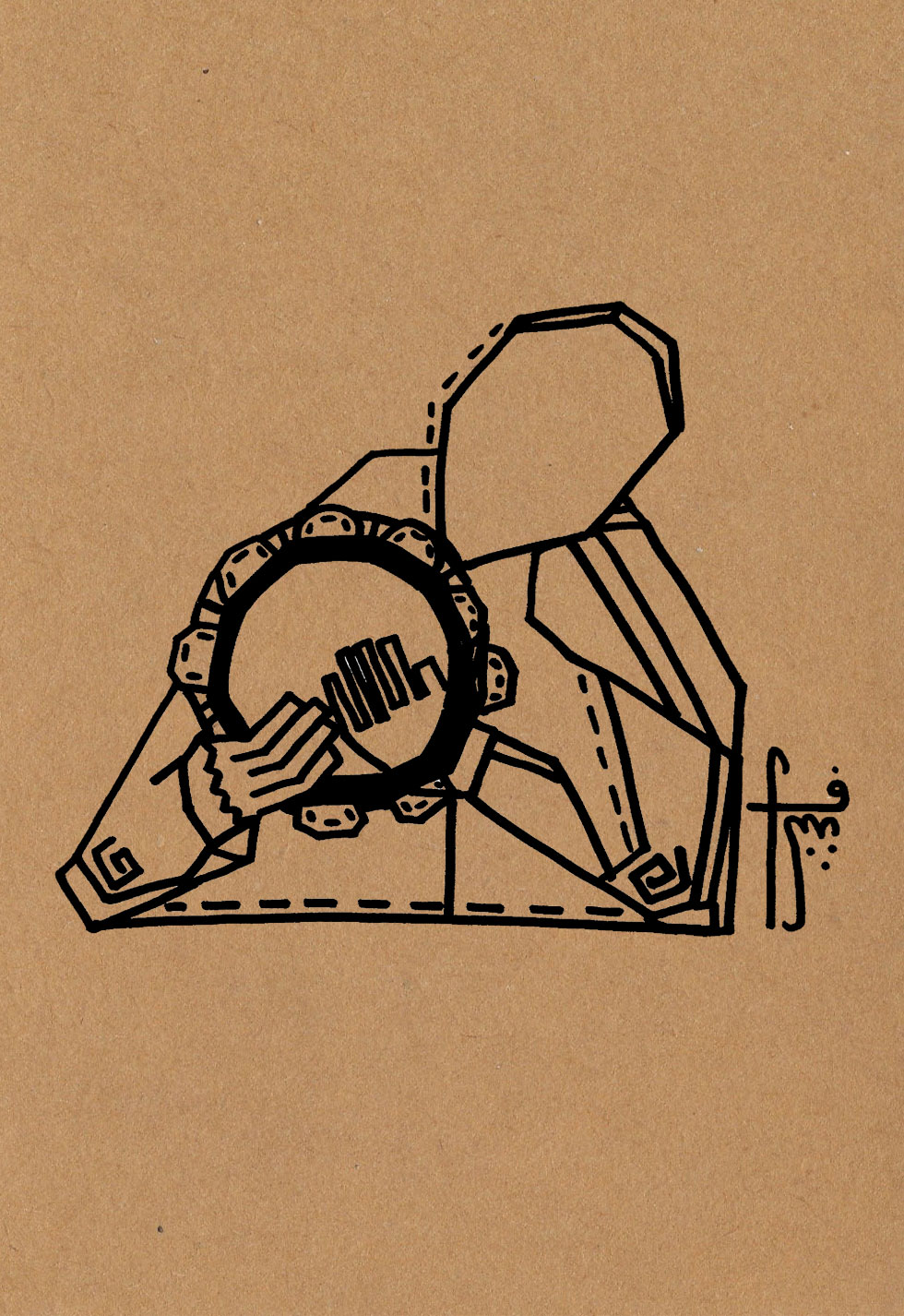 The Riq Player  // traditional jingles  Pen on craft paper (350g)  A5