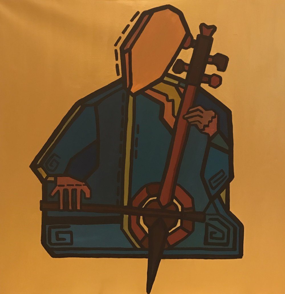 The Rababa Player  // a folksy fiddle  Acrylic on canvas  80 cm x 80 xm x 3.8 cm