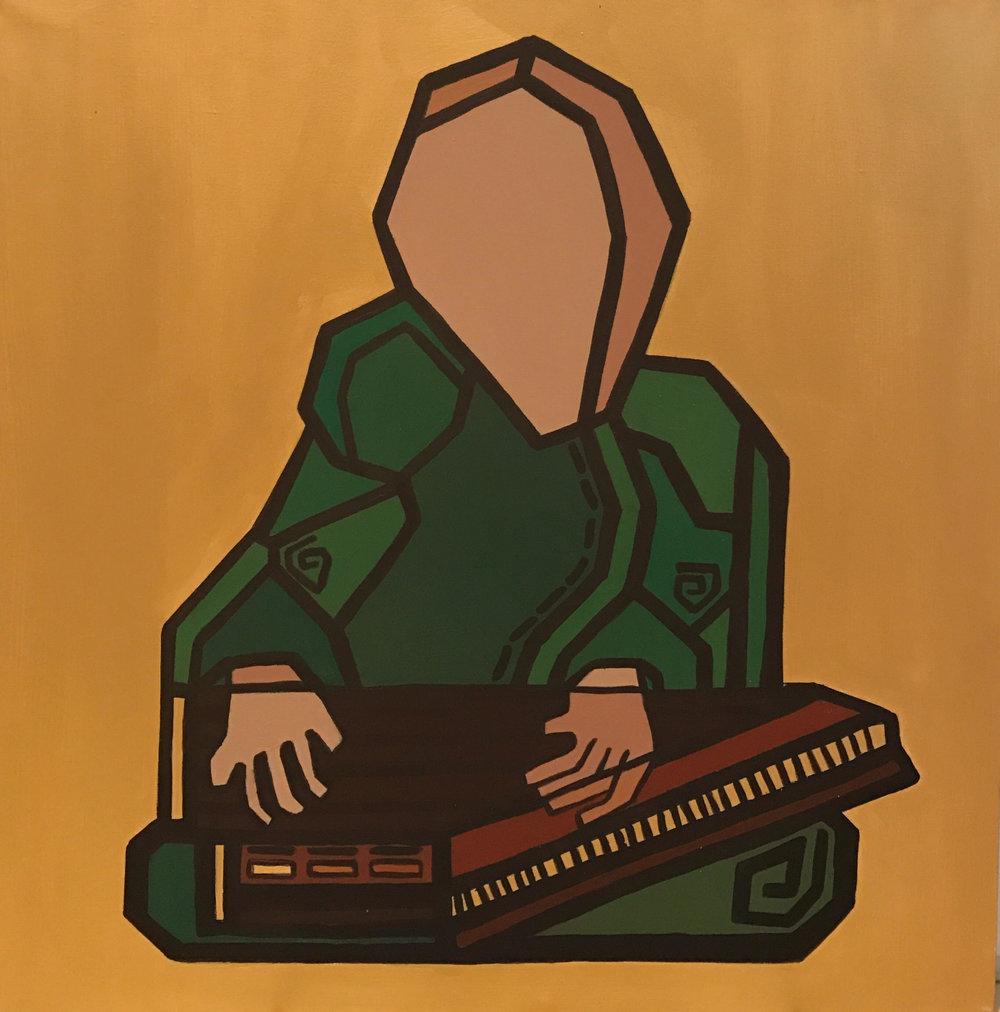 The Qanun Player // sounds of Jerusalem  Acrylic on canvas  80 cm x 80 xm x 3.8 cm