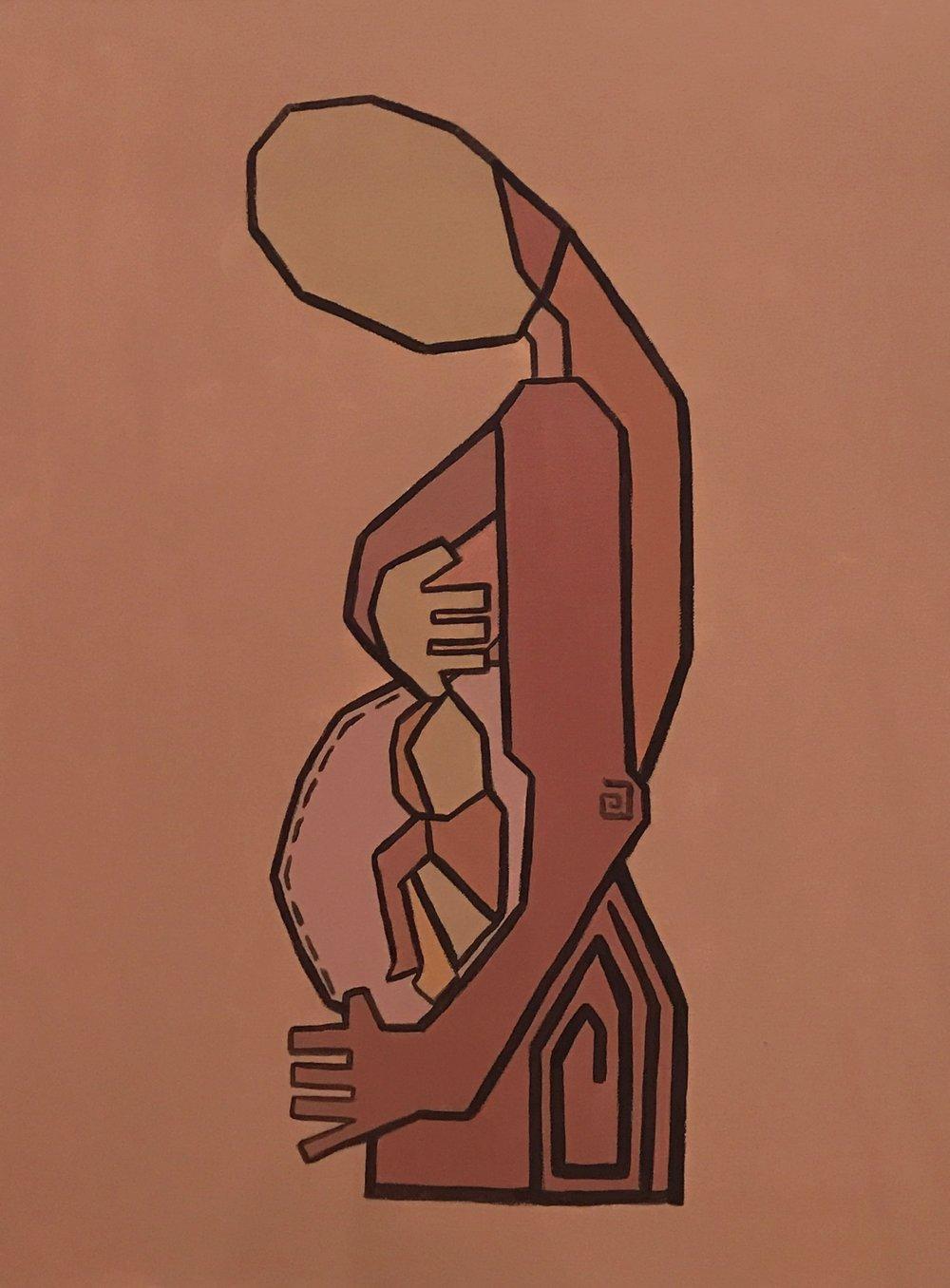 Motherhood III   Acrylic on canvas  80 cm x 60 cm x 3.8 cm