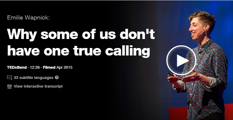 Link to Ted Talk - How some of Us don't have one true calling