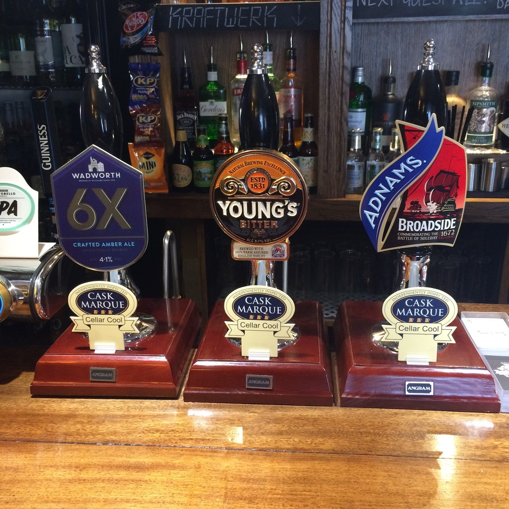 Our ever present house ale is Young's Bitter, with two complimentary guest ales