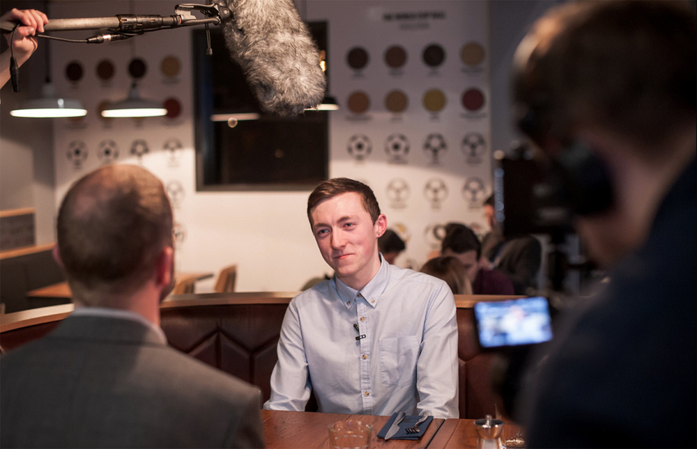 Hotel Football interview for ITV. Photography by Nick Harrison.