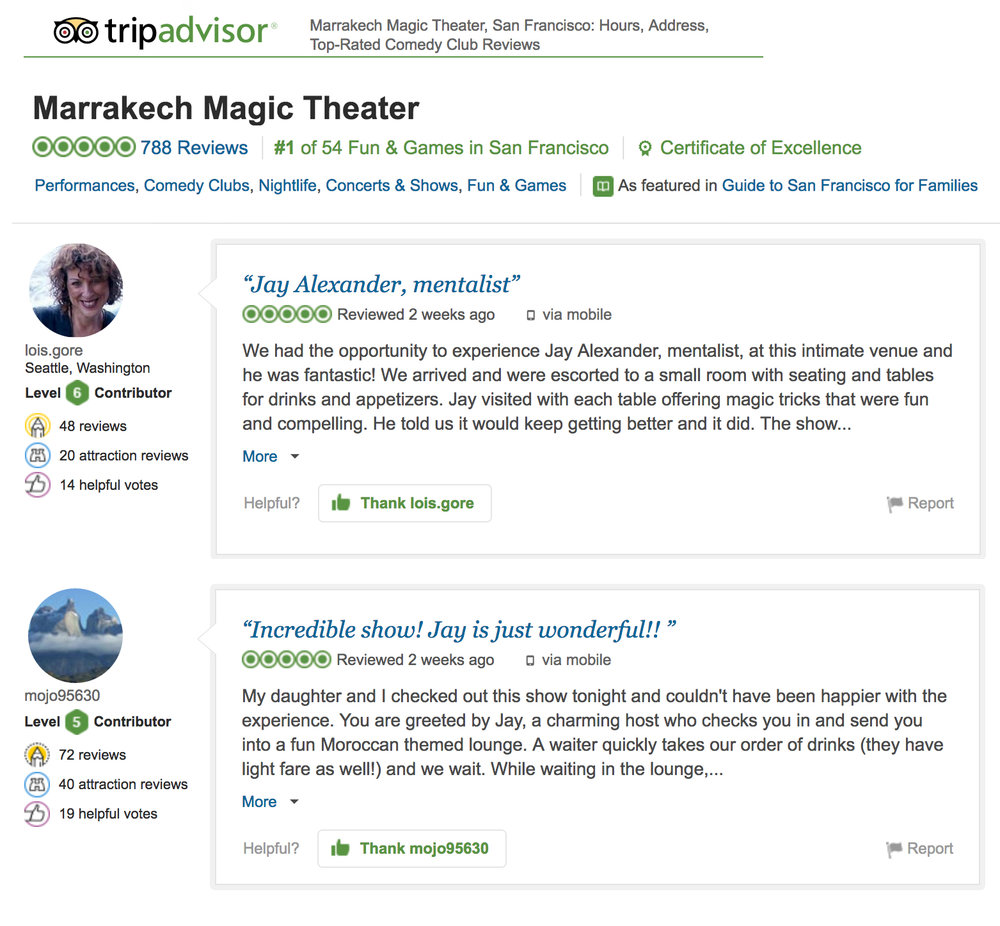 Click above to see all Trip Advisor Reviews