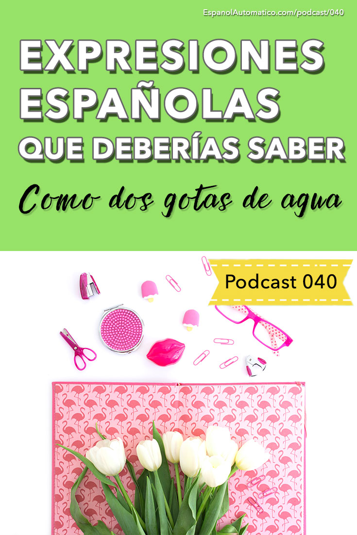"Expresiones españolas que deberías saber: ""Como dos gotas de agua"" [Podcast 040] Learn Spanish in fun and easy way with our award-winning podcast: http://espanolautomatico.com/podcast/040REPIN for later"