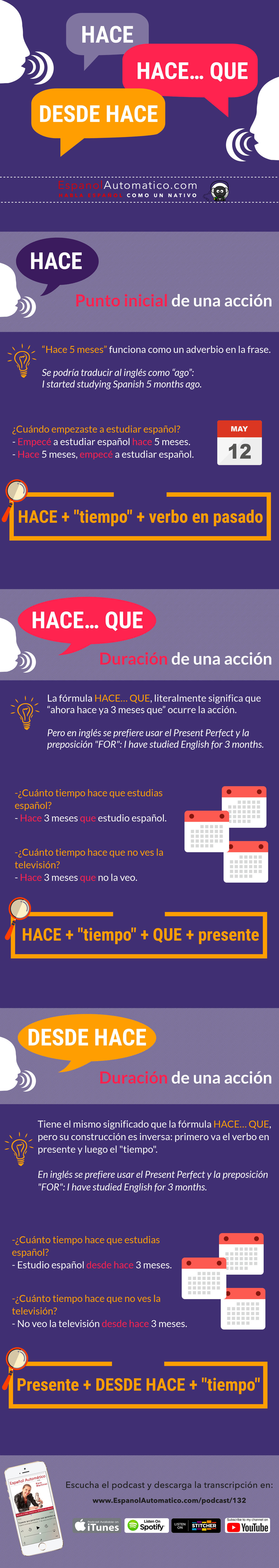 ¿Cuál es la diferencia entre HACE, HACE QUE y DESDE HACE I Gramática española [Podcast 132] Learn Spanish in fun and easy way with our award-winning podcast: http://espanolautomatico.com/podcast/132 REPIN for later #teachspanish #spanishteacher #speakspanish #spanishlessons #learnspanishforadults #learnspanishforadultsfree #learningspanish #learningspanishlanguage