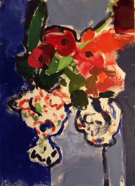 Poppies in lustre vases  OIL ON PAPER. 40 x 26 cm
