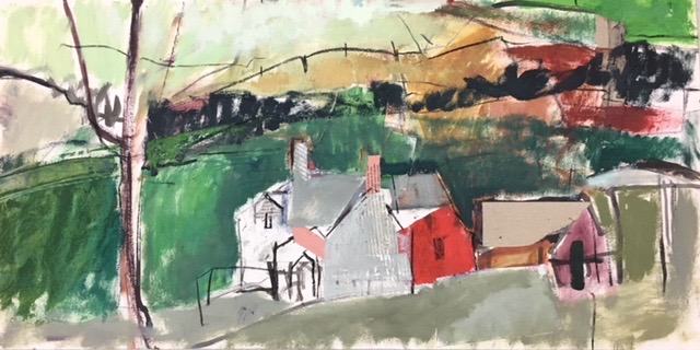 Middle house farm.  oil and collage on paper. 38 x 76 cm