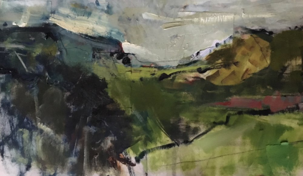 october landscape, Montgomery  OIL ON PAPER. 38 X 76 cm