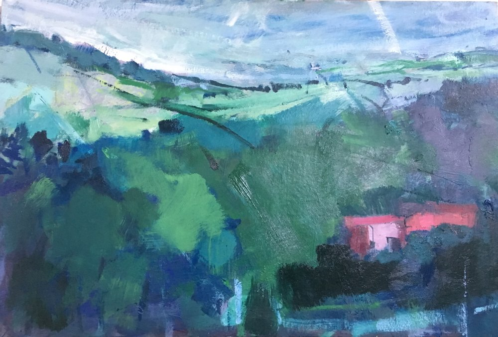 Mount farm  oil on board 38 x 76 cm