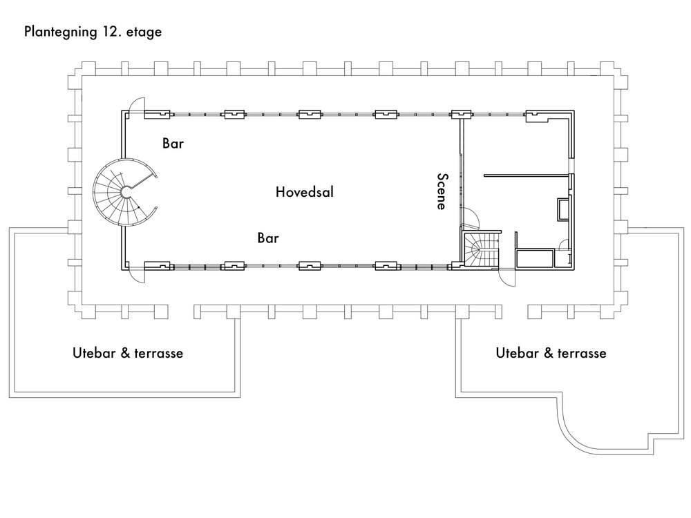 Plantegning Stratos Selskapslokale 12 etage