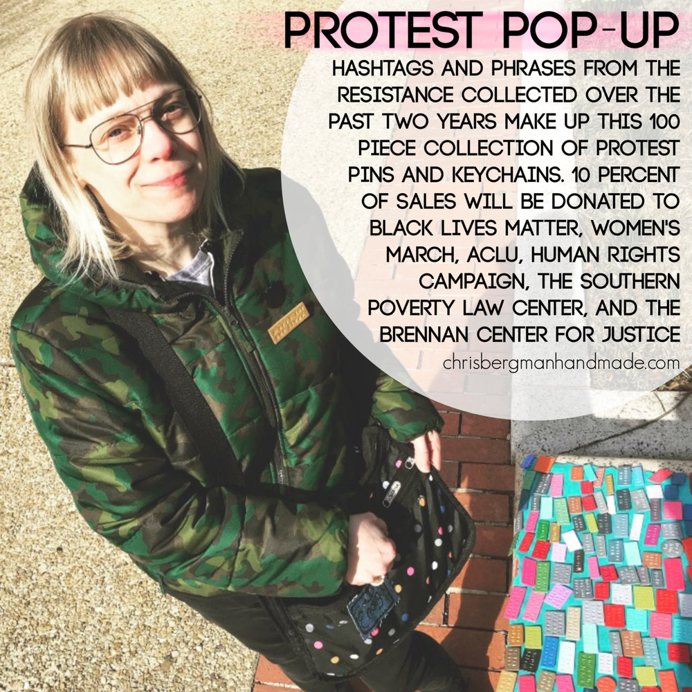 PROTEST POP-UP  pins and keychains