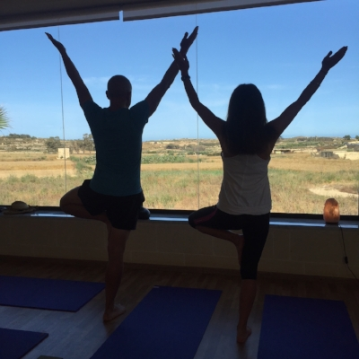 Two daily yoga sessions looking out over rustic Gozo