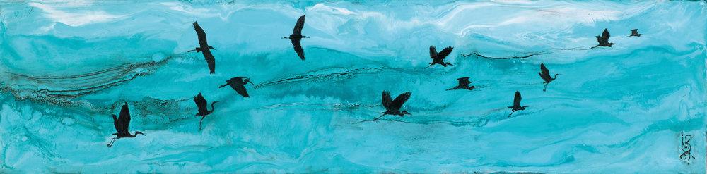 "Heron Migration  6"" x 24""  $400"