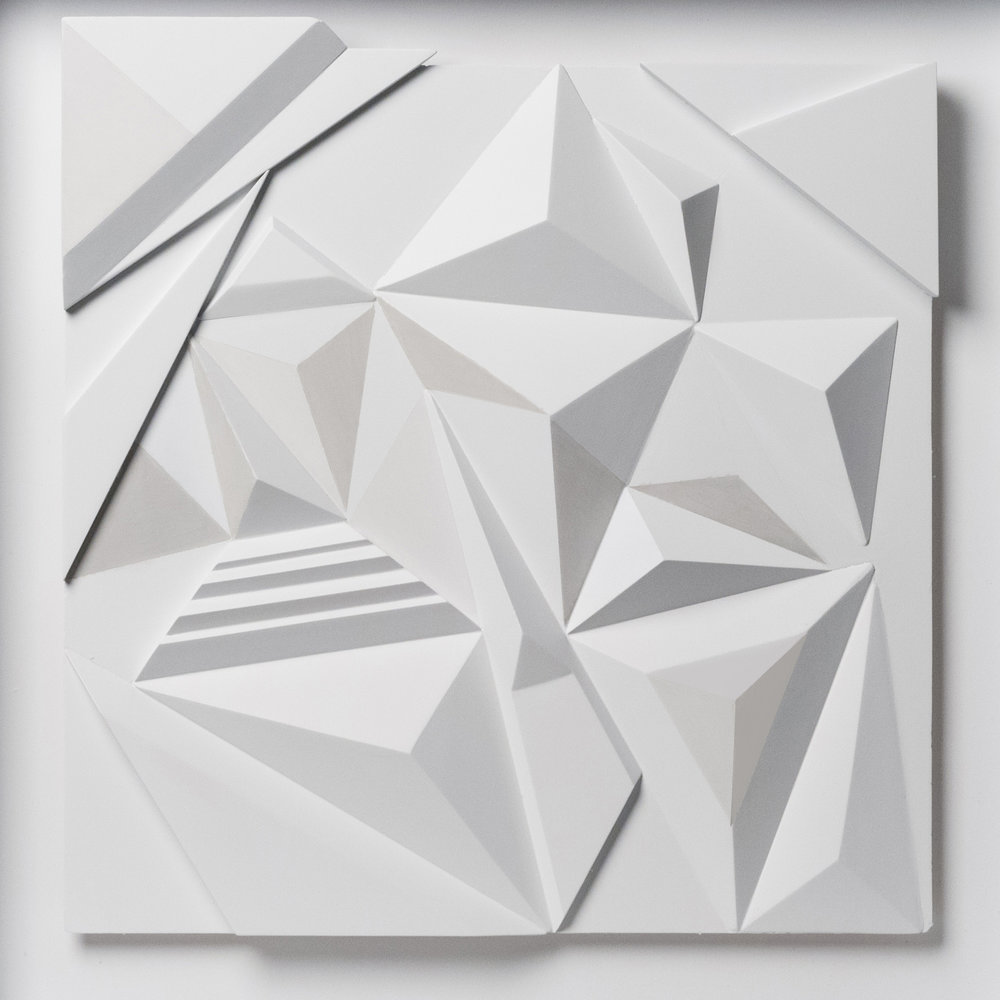 "Monochrome white 2015,  Exploring optical illusions   20.5""x 20.5""x 2"" MDF"